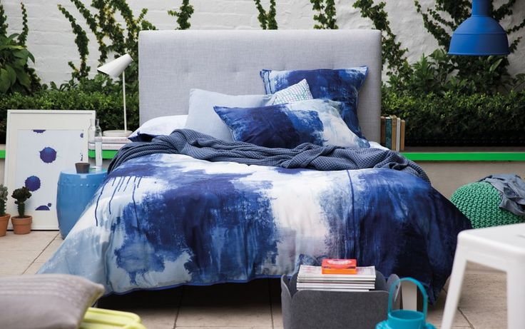 Cobalt blues and white. Inky watercolours. Chroma quilt cover set from Sheridan