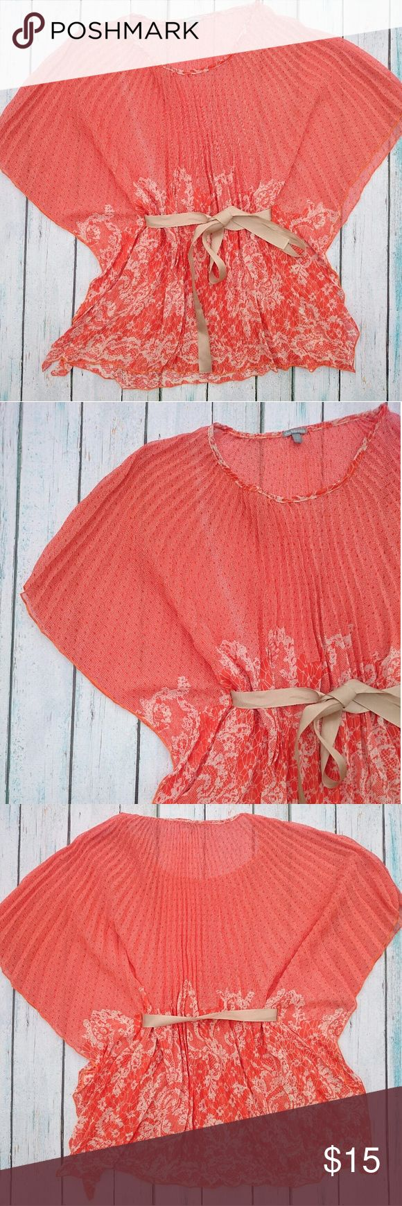 Unique Poncho Top Orange and white poncho, batwing top for Charlotte Russe. Sheer, flowy chiffon kind of material. Gold ribbon tie at waist. EUC. No flaws that I can tell. Charlotte Russe Tops