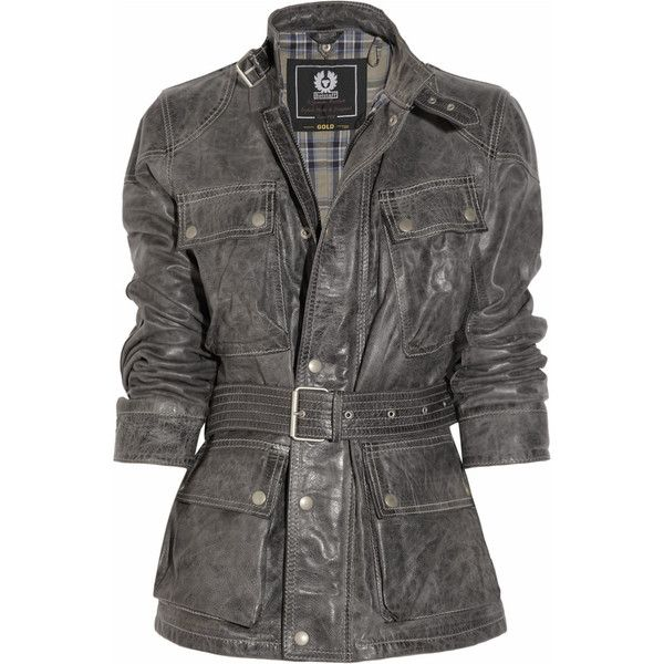 Belstaff Panther Distressed-Leather Jacket ($725) ❤ liked on Polyvore featuring outerwear, jackets, coats, coats & jackets, women, belstaff jacket, flap jacket, high neck jacket, distressed jacket and zipper jacket