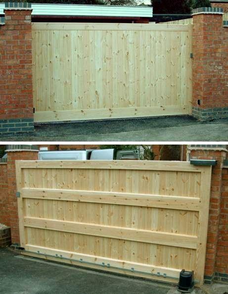 25 best ideas about sliding gate on pinterest child for Sliding driveway gates wooden