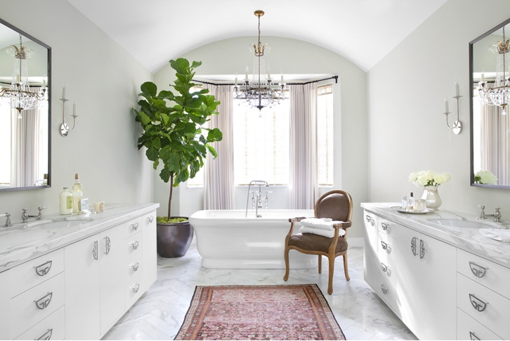The Pink Pagoda - can I please get this bathroom in my stocking!!!!??: Bathroom Design, White Bathroom, Indoor Trees, Beverly Hill, Rugs, Figs Trees, Master Bathroom, Fiddle Leaf Figs, Betsy Burnham