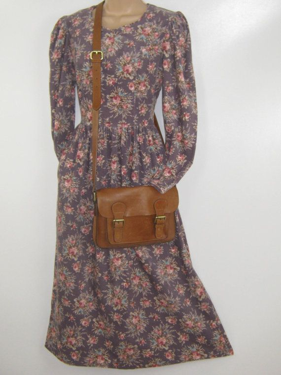 LAURA ASHLEY Vintage Taupe Dusky Autumn Rose Bouquet Day Dress, UK 8/10