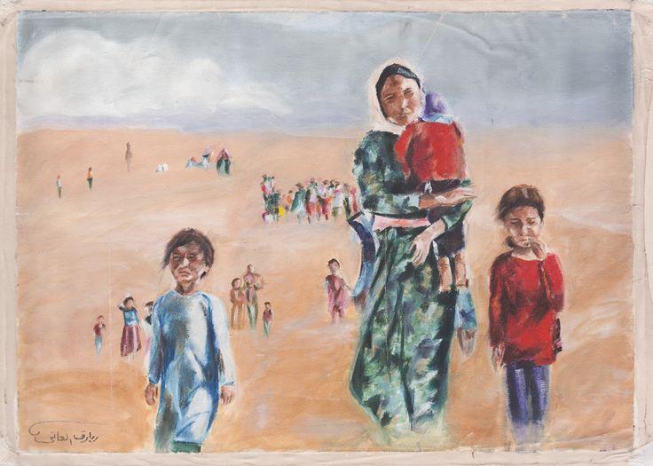 "Lukisan ""Keluarga"" karya Biareq Al Ani, seorang pelukis Suriah"