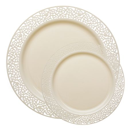 1252 Lace Ivory Plastic Dinnerware Value Pack 120 dinner plates + 120 salad/dessert plates | $89.99