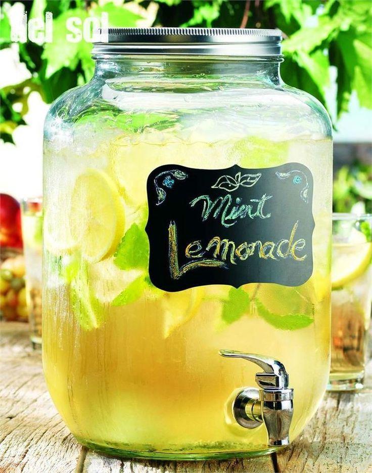 New Chalk Beverage Dispenser Glass Mason Lemonade Iced Tea