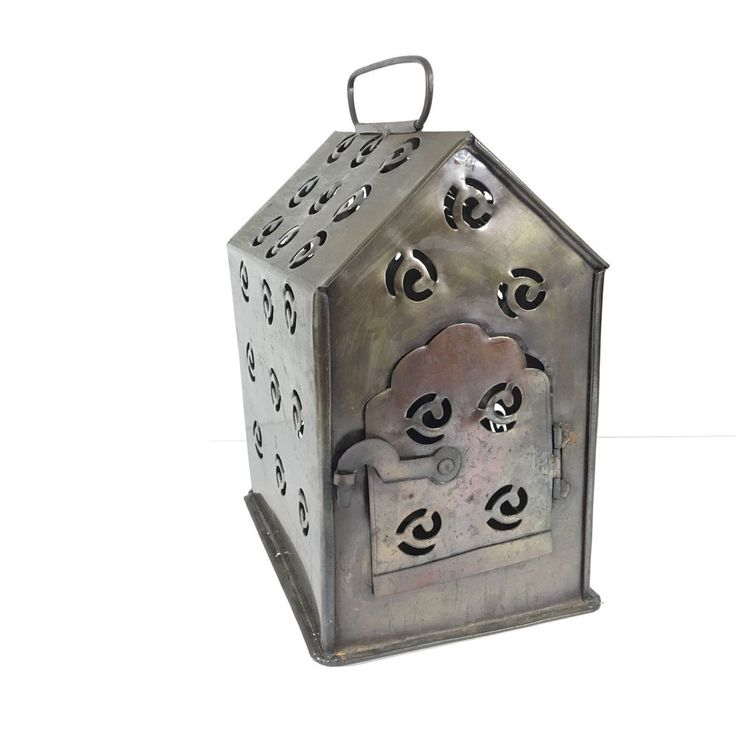 Vintage Reticulated Punched Tin Metal Lantern, Candle Holder, House Shape