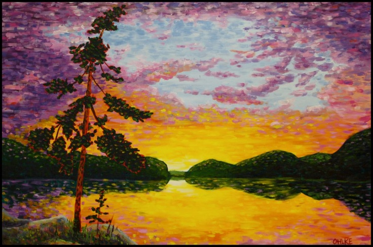 """Impressions of Smoke Lake from Tom Thomson's island campsite.""  36"" x 24"" Acrylic on Canvas - Katie Ohlke  #Algonquin Park  #Tom Thomson  #Painting #art"
