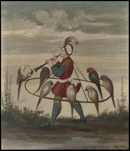 """""""A charming view of a falconer or falcon seller playing a wind instrument and carrying 7 birds on a hoop suspended from his neck. The figure's turban suggests a Mughal origin for the wearer."""""""