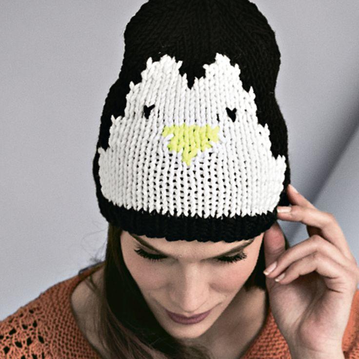 Схема и описание вязания на спицах шапки с пингвином из журнала «Verena. Спецвыпуск» №2/2015