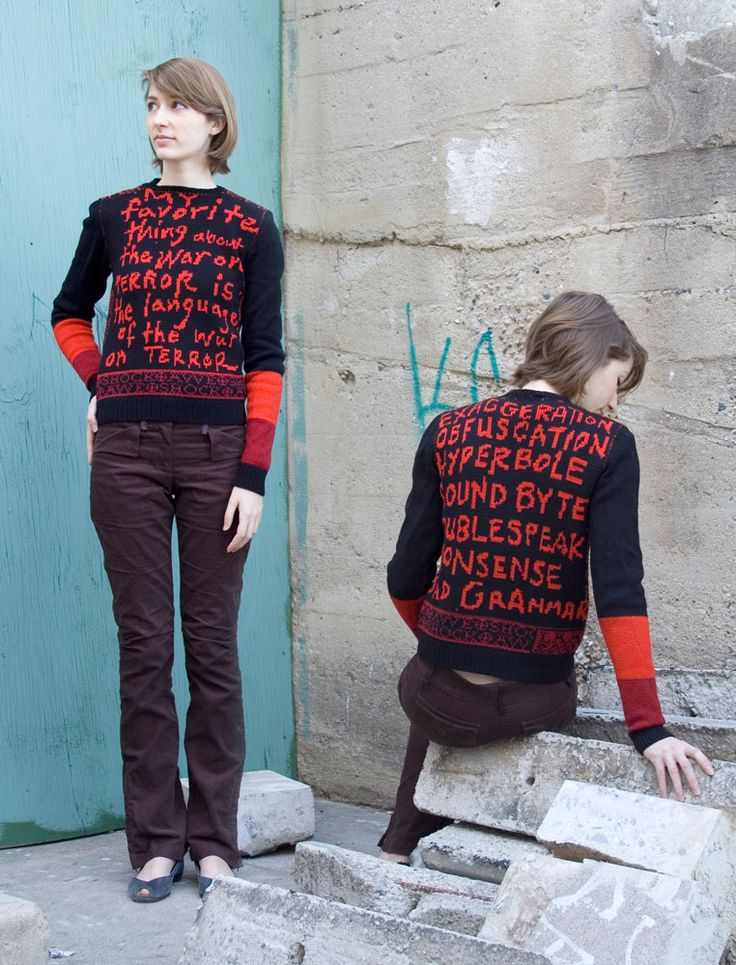 Other craft-based arts have corralled handwork and politics into a fiery alliance. Afghan war carpets and African-American Underground Railroad quilts come to mind. But no effort in recent memory has been as sharp and blunt as Lisa Anne Auerbach's assertive knitwear. Her unambiguous words and sharp graphics get a message across like a 24-point headline.