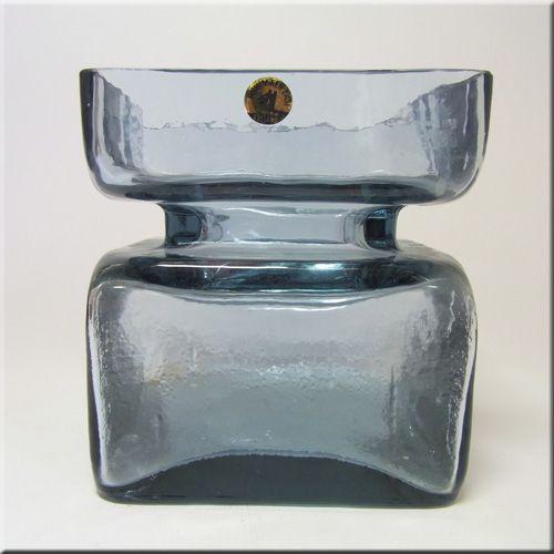 Riihimäen Lasi Oy / Riihimaki smokey blue glass textured 'Pala' vase by Helena Tynell, labelled.