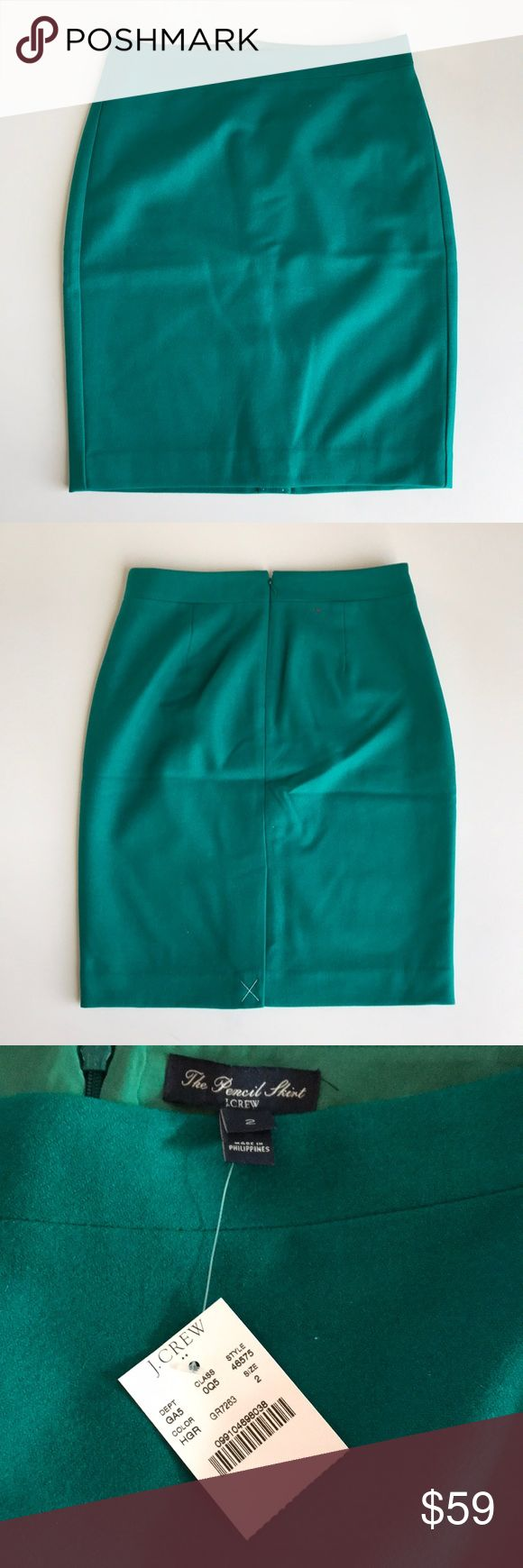 "J. Crew Green Pencil Skirt in Double-Serge Wool Brand new with tags. Sits at waist. Back vent, back zip, fully lined. Length: 21.5"", waist: 14.5"". 70% wool, 30% viscose. Emerald green. J. Crew Skirts Midi"