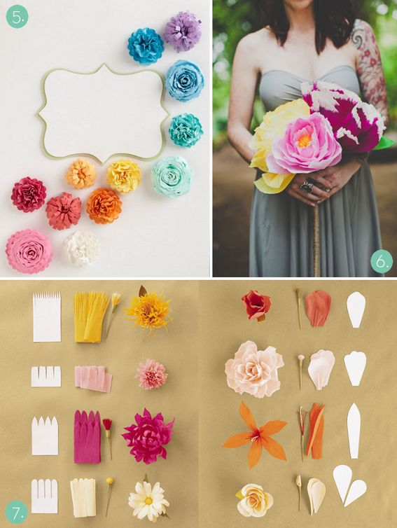 Every kind of paper flower imaginable.  Check out the ones on the top of the page for a beautifully dramatic centerpiece. #DBBridalStyle
