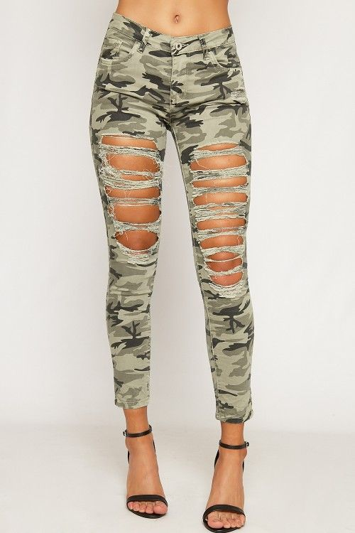 Leah Ripped Camouflage Skinny Jeans