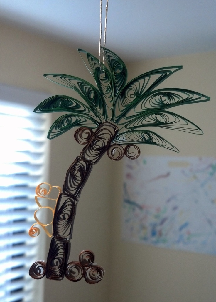 Quilled Palm Tree with Coconuts and Year