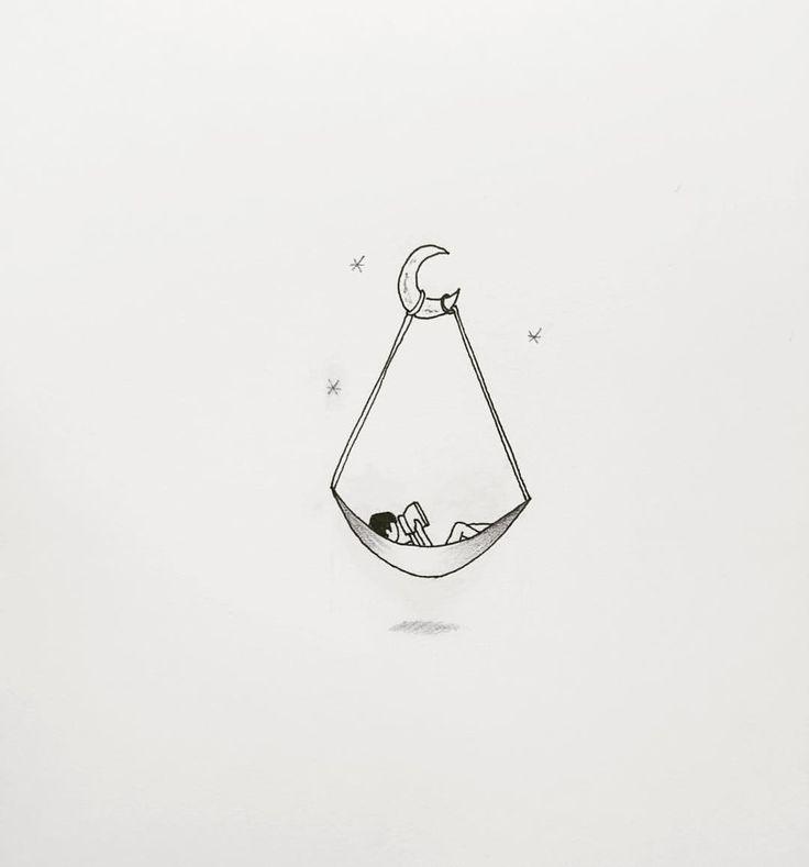 """248 Likes, 11 Comments - Masa_tattooer (@masa_tattooer) on Instagram: """". 달빛 내리는 밤 . . #해먹#hammock#illust#minimalism…"""""""