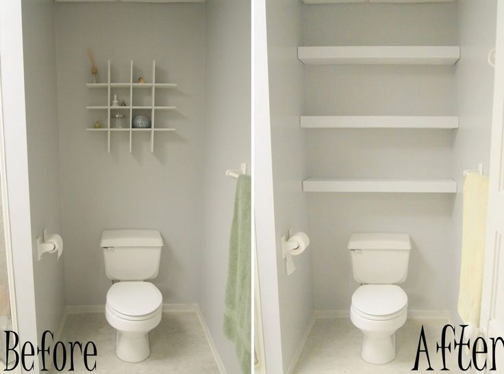 Before And After Remodel Tiny And Narrow Bathroom Spaces Painted With White  Wall Interior Color Decoration Plus DIY Wood Wall Mounted Storage Over  Toilet ...