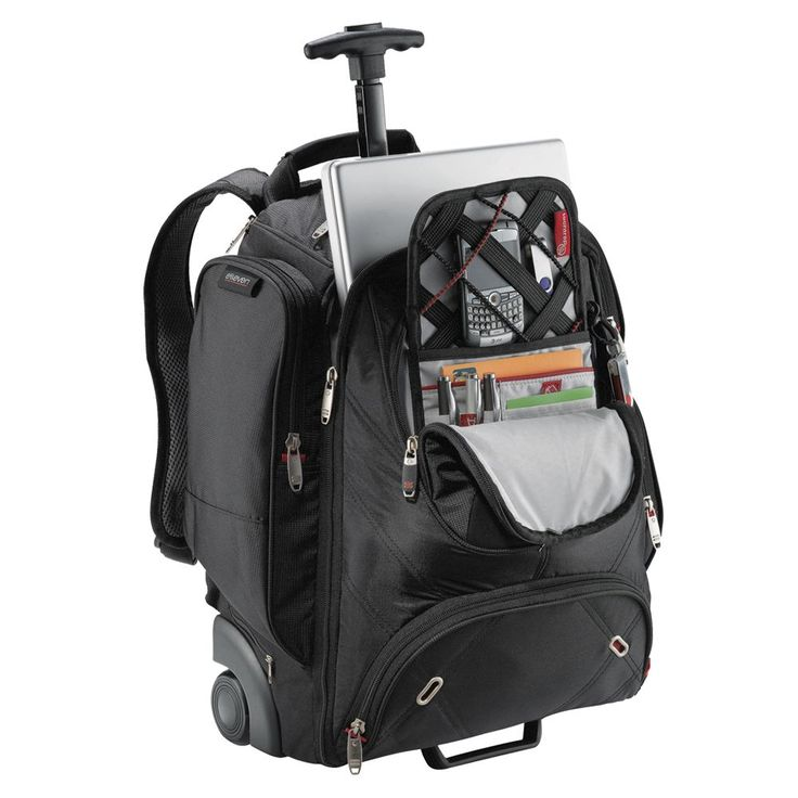 Elleven Wheeled Compu-Backpack  Includes TSA-friendly laptop compartment expediting airport security. (Pens, Laptop and other devices shown are not included) Holds 17 inch laptops and has File dividers and earbud port access. Zippered media pocket.  Valuables pocket and three side zippered pockets. Hideaway backpack straps and comfort carry handle. Telescoping handle and inline wheels. Main compartment capacity is approximately 25 litres. Complies with domestic carry on baggage allowances.