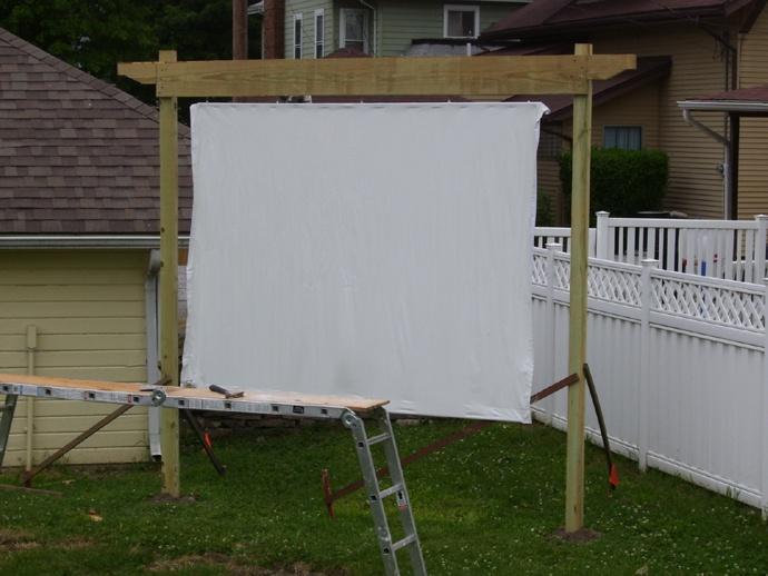 Our Backyard Theater Screen In Progress. 2 4x4u0027s, 1 1x6, A