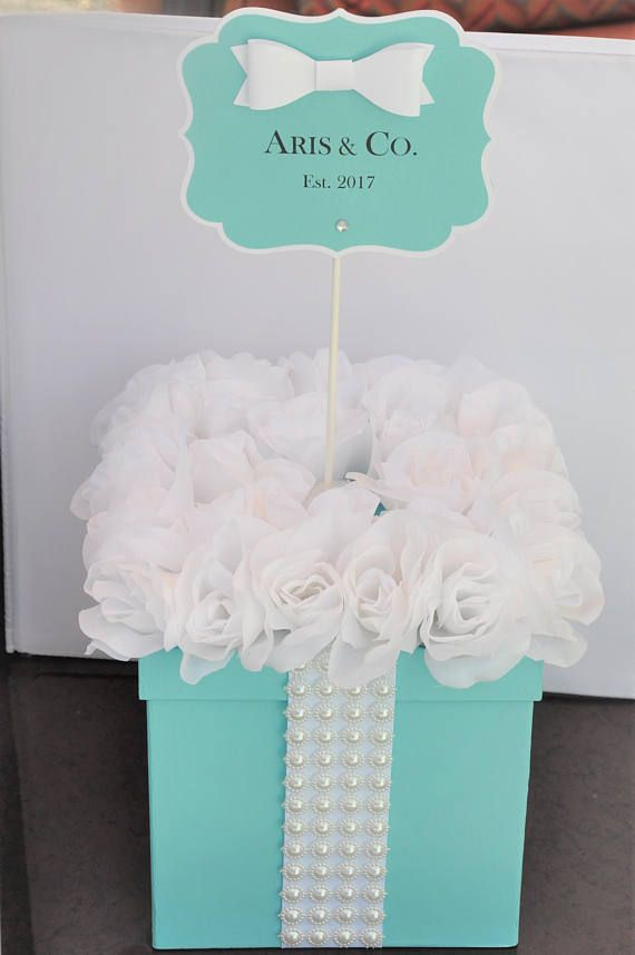 48 best breakfast at tiffanys bachelorette party images on robins egg blue gift box centerpiece aqua turquoise w pearls flowers personalized sign for baby showers bridal showers sweet 16 birthd negle Gallery
