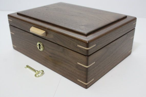 Handmade Locking Black Walnut Wood Box. Valet Box, Keepsake Box, Trinket Box…