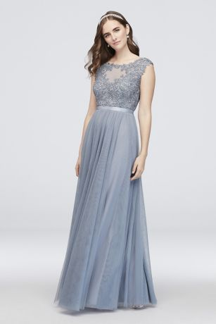 031e9fa0ef044 This timeless ball gown features a floral lace bodice with a sheer neckline  and a grand mesh skirt. A slim ribbon sash ties the look together. By City  ...