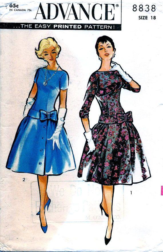 jaren 1950 advance patroon 8838 * ELEGANT Cocktail avond lange romp jurk breed, Bow-bijgesneden Hip-Band * UNCUT * maat 18, buste van 38