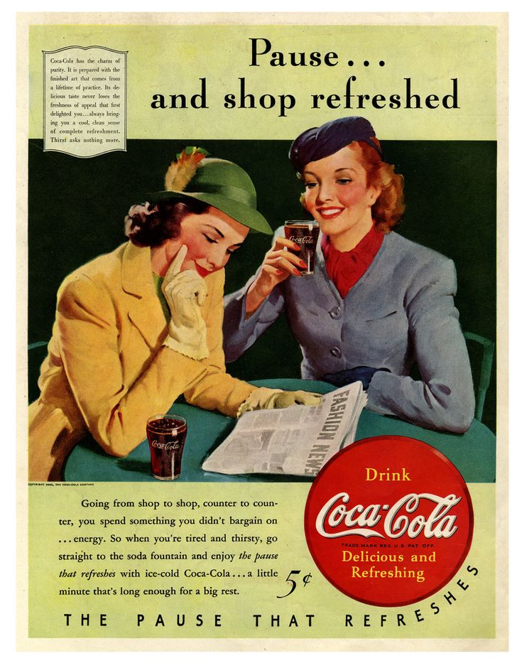 Coca-Cola ad, Reinvigorate, Then Go Forth and Consume! 1940.