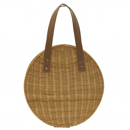 Bolo Bag - A #handwoven round #Rattan #bag that will be your #everything bag. Lined in #canvas with #vegan #leather #straps and #brass #hardware. #woven #basket #natural