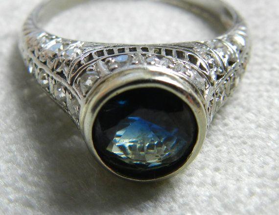 Engagement Ring Platinum Art Deco Ring 1.5ct by DiamondSoulShop