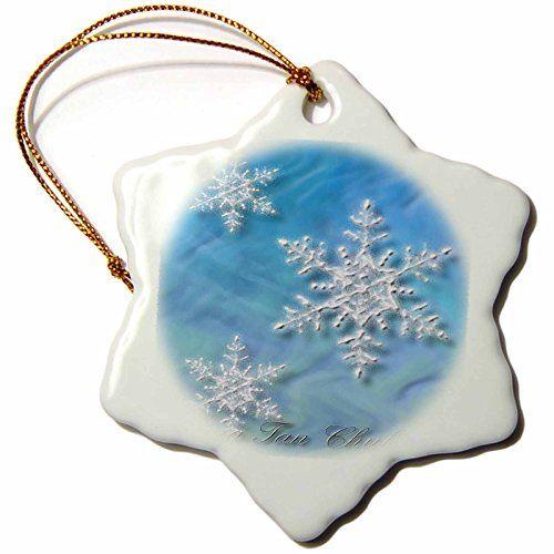 3dRose orn_37011_1 Sung Tan Chuk Ha Merry Christmas in Korean Snowflake Decorative Hanging Ornament Porcelain 3Inch -- ** AMAZON BEST BUY **