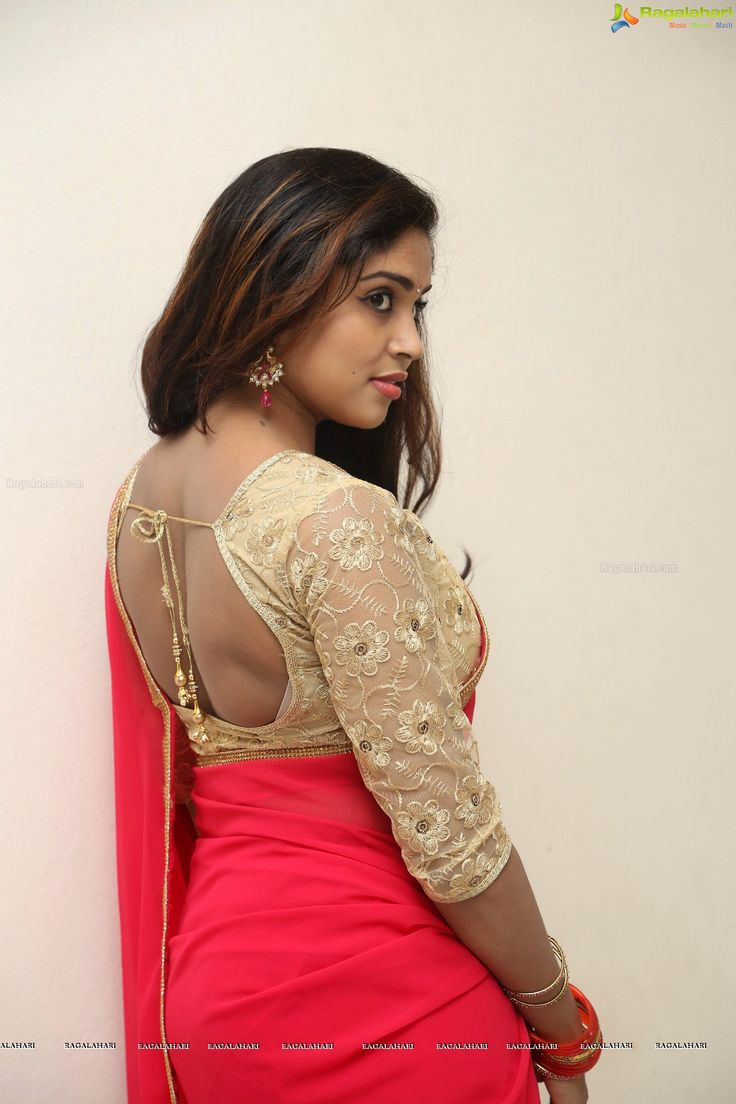 Photos - Karunya Chowdary in Tomato Red Saree Photos