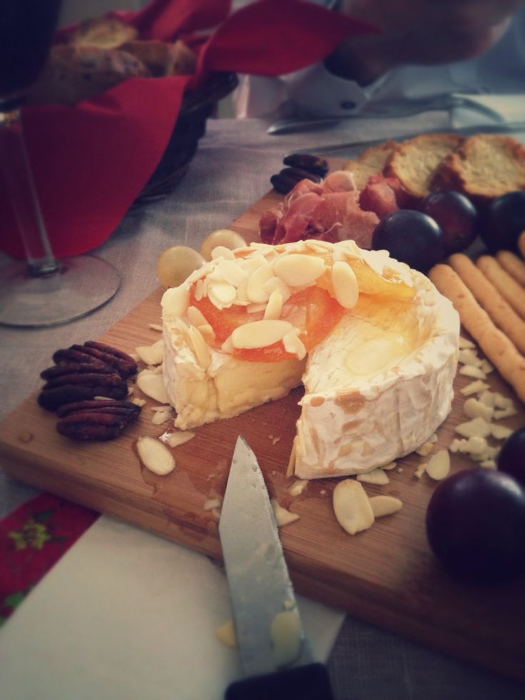 Delicious brie with fruit and nuts. Perfection!