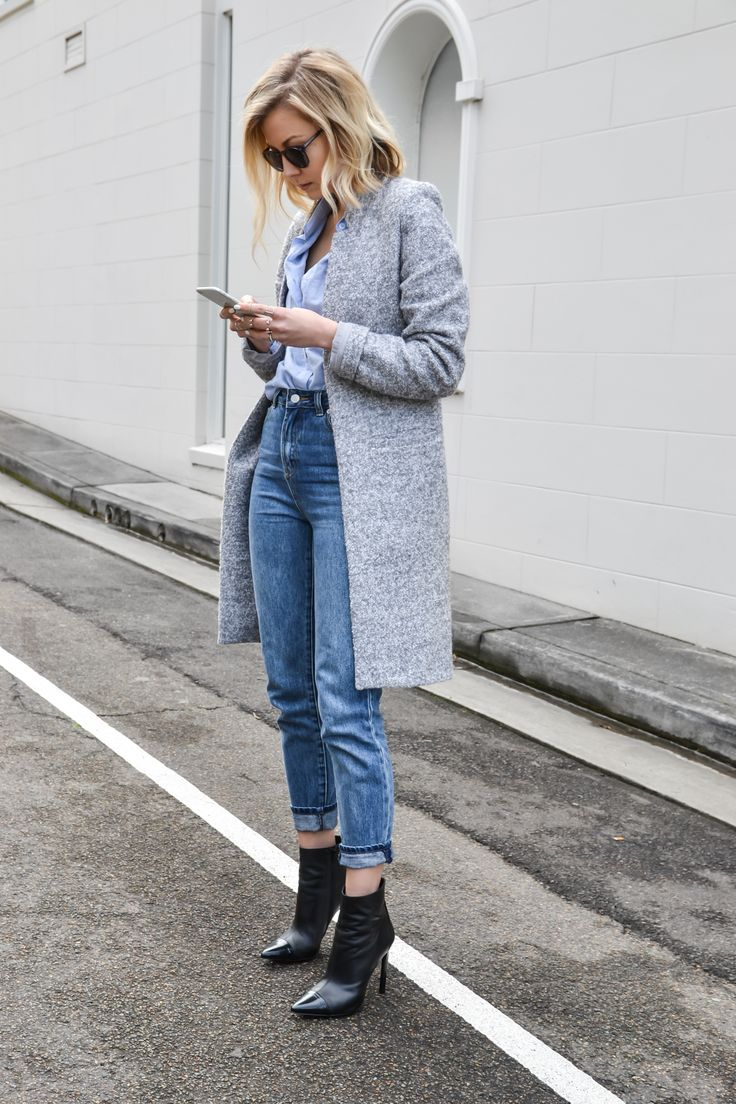 Black ankle boots + grey coat.