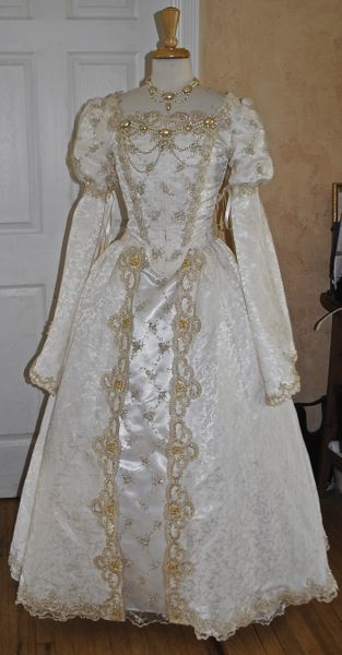 Elizabethan Princess Style Medieval Gown with Beading