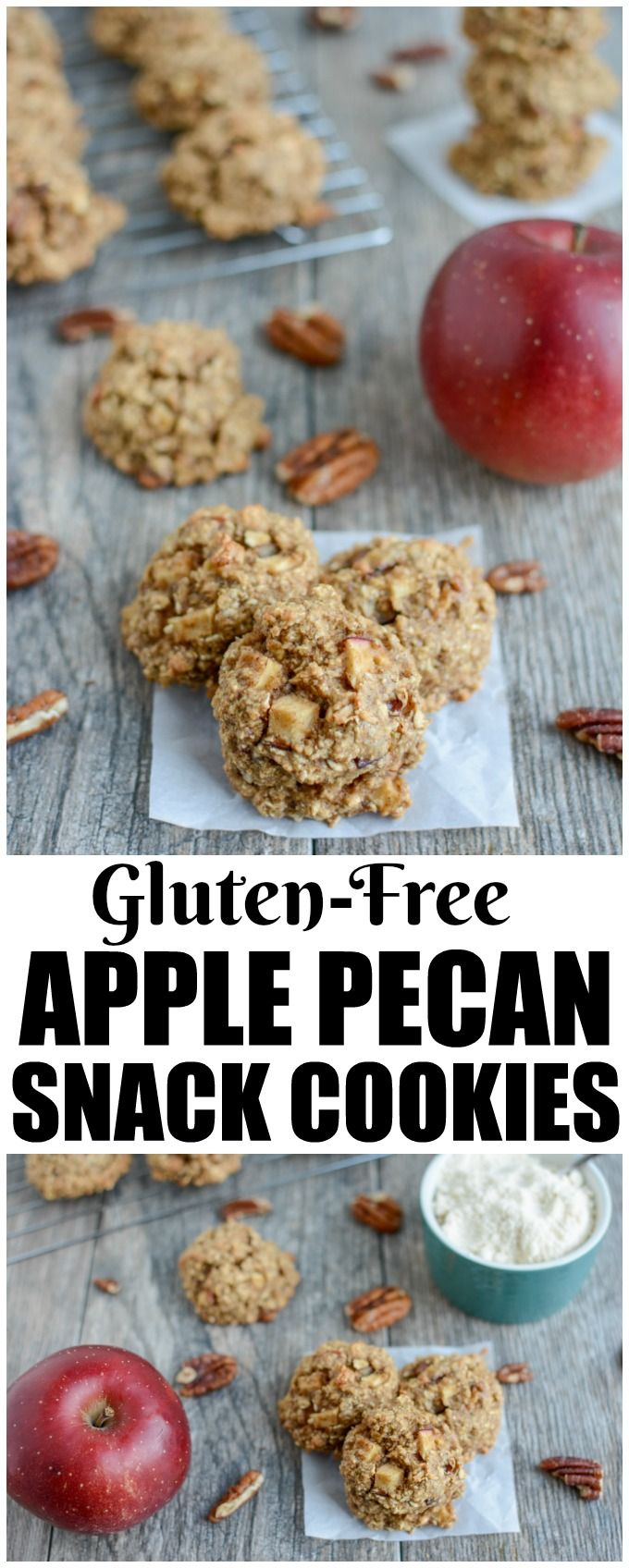 These gluten-free Apple Pecan Snack Cookies are a healthy, kid-friendly snack, breakfast or dessert. They're made with coconut and oat flour, full of fresh apples and sweetened with maple syrup. (AD)