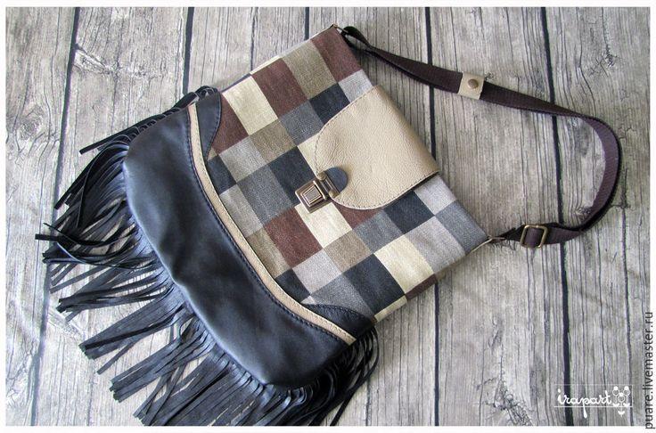 """Купить Сумка """"Стиль"""" - коричневый, в клеточку, сумка ручной работы, сумка, сумка женская"""