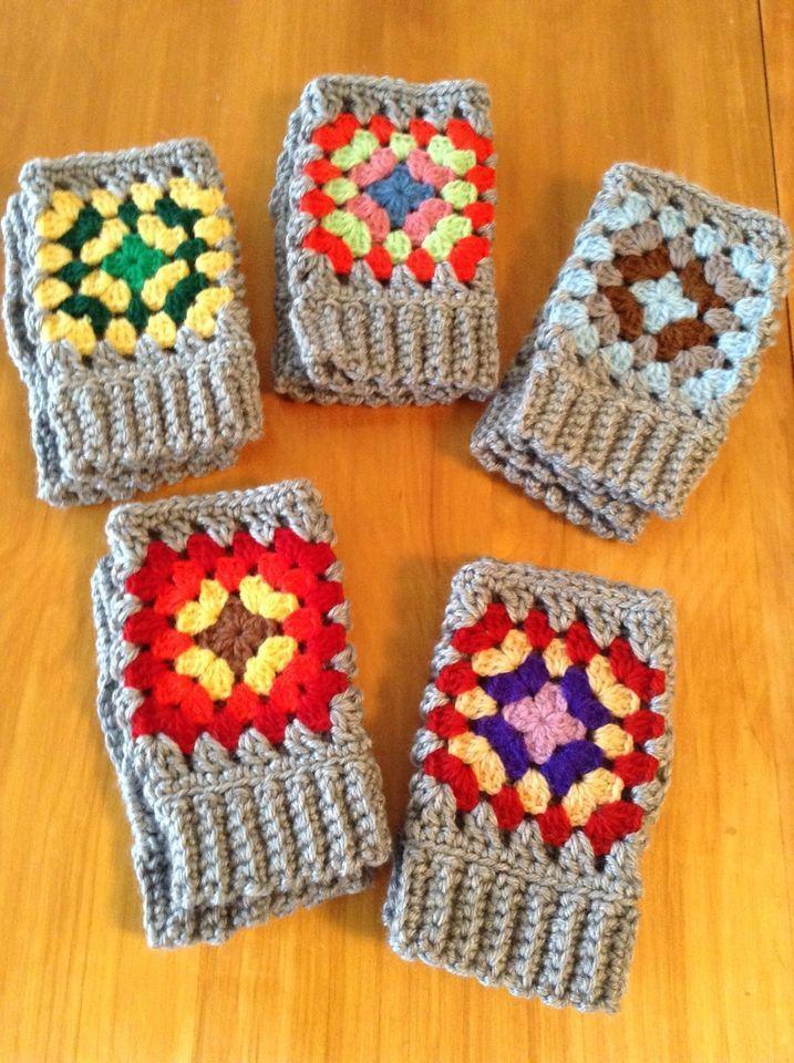 Granny Square on Gray Crochet Fingerless Gloves New Handmade One Size