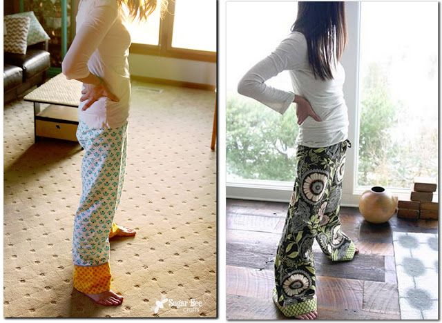 here's how to turn a basic pj pant pattern into a more modern pajama bottom fit - awesome!- - -Sugar Bee Crafts: Modern Pajama Pants