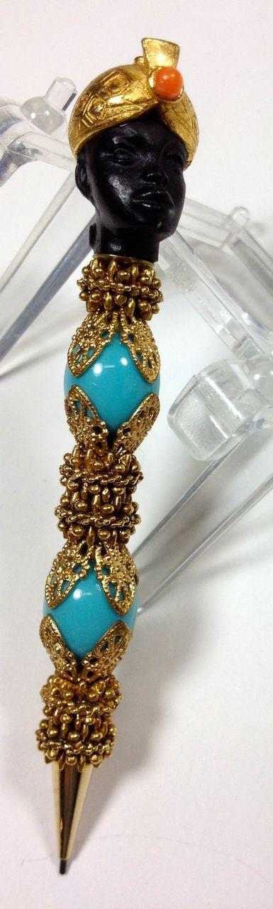 Jeweled Florenza Blackamoor African Nubian Figural Mechanical Pencil found on Ruby Lane