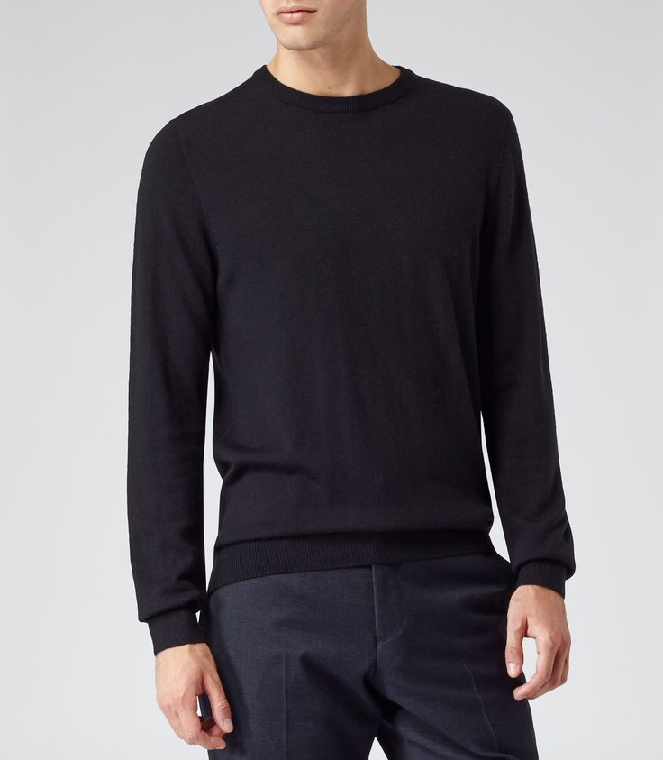 Mens Navy Merino Wool Jumper - Reiss Onyx