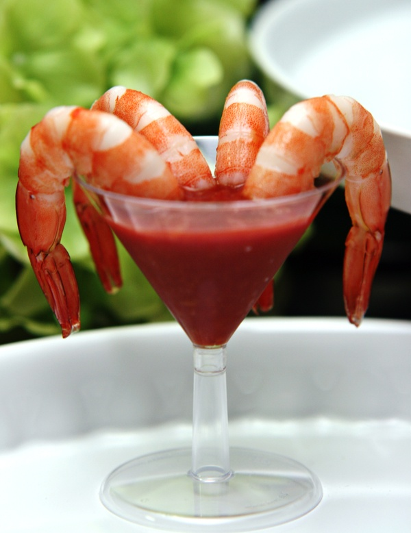 Shrimp Martini~ A serving of 4 cocktail shrimps served in a mini martini glass with spicy dipping sauce ♡