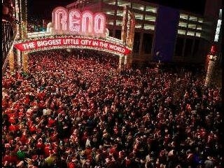 That's a lot of Santas! Welcome to the Santa Crawl, held every December in downtown Reno