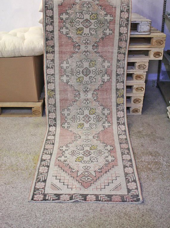 249 00 3x9 25 Ft Vintage Runner Rug Handknotted Turkish Oushak With Pastel And Soft Tones Eclectic Bohemian Urbanchic Area Handmade