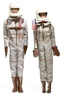 Vintage Barbie Miss Astronaut #1641 (1965)  Silver Space Suit  White Helmet  Brown Plastic Gloves  Brown Boots with Zipper  American Flag