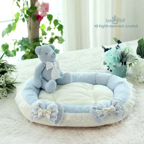 Amelia Blue Rose Designer Handmade bedding for Pets by JunyBell