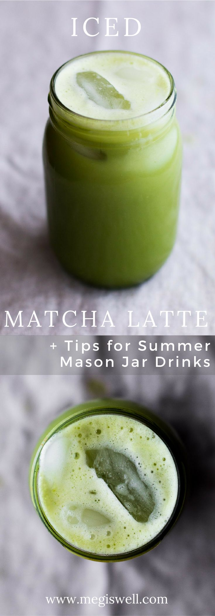 This Iced Matcha Latte is a sweet and light treat that's easily made in a mason jar for fast summer fun. | www.megiswell.com