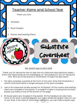 Substitute Teacher Coversheet: Being absent from school is almost as awful as being sick! Leaving sub plans can be tedious! Include a Substitute Coversheet with all the important details: create one at the beginning of the year and use it every time you have to be absent. This makes organization, absences, and managing lesson plans so much easier. FREE