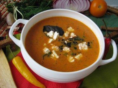 Острый суп из запеченных помидоров