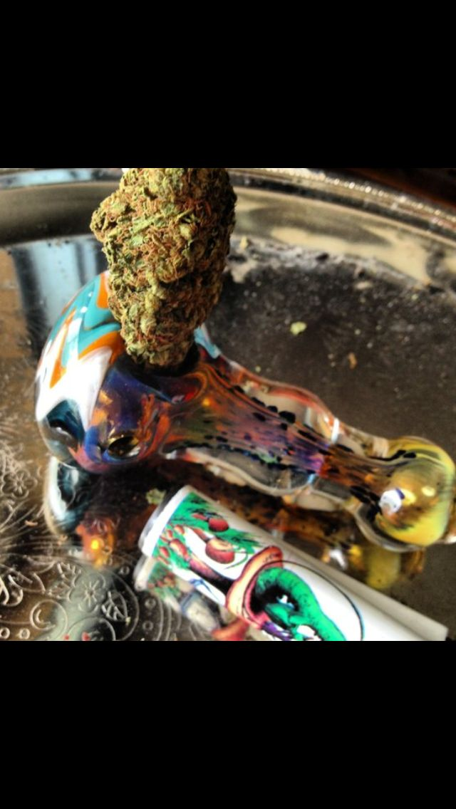 """A beautiful nug of Gods Gift in my favorite glass piece. 💕 """"Oh bliss! Bliss and heaven! Oh, it was gorgeousness and gorgeousity made flesh."""""""